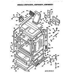 JGBP35GEP4WG Gas Range Cabinet Parts diagram