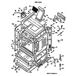 JGBP35WEV3WW Gas Range Body Parts diagram