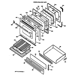 JGBP35WEV3WW Gas Range Door & drawer Parts diagram