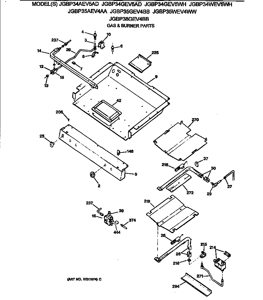 jgbp35wev4ww gas range gas & burner parts diagram