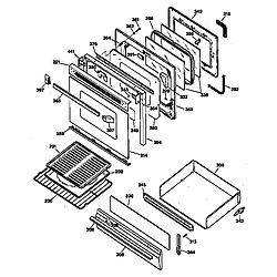 JGBP35WEW1WW Gas Range Door & drawer Parts diagram