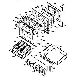 JGBP79AEW1AA Gas Range Door & drawer Parts diagram