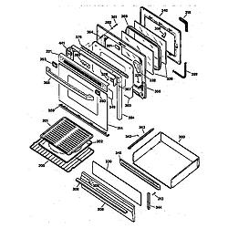 JGBP79WEW1WW Gas Range Door & drawer Parts diagram