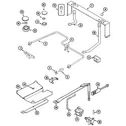 JGS8750ADB Slide-In Gas Range Gas controls Parts diagram