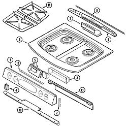JGS8750ADB Slide-In Gas Range Top assembly Parts diagram