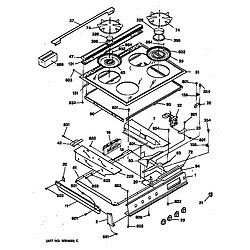 JGSP40AET1AA Gas Slide-In Range Control panel & cooktop Parts diagram
