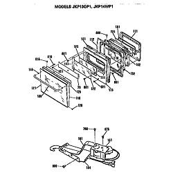 JKP13GP1BG Electric Wall Oven Door Parts diagram