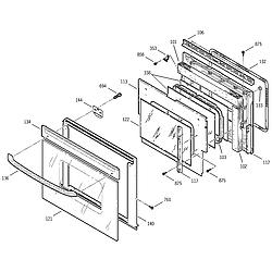 JKP15BA2BB Electric Oven Door Parts diagram