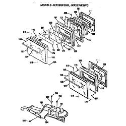 JKP27WP Electric Wall Oven Doors Parts diagram