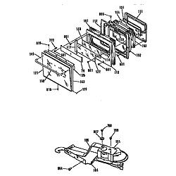 JKP44GP2BG Electric Wall Oven Door and lock Parts diagram