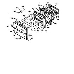 JKP45 Electric Wall Oven Oven door Parts diagram