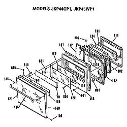 JKP45WP1 Electric Wall Oven Door Parts diagram