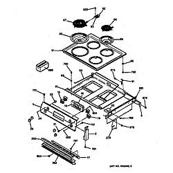 JMP28BW1AD Electric Range Cooktop & control panel Parts diagram
