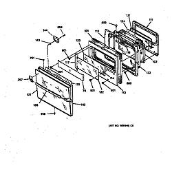 JMP28BW1AD Electric Range Oven door Parts diagram