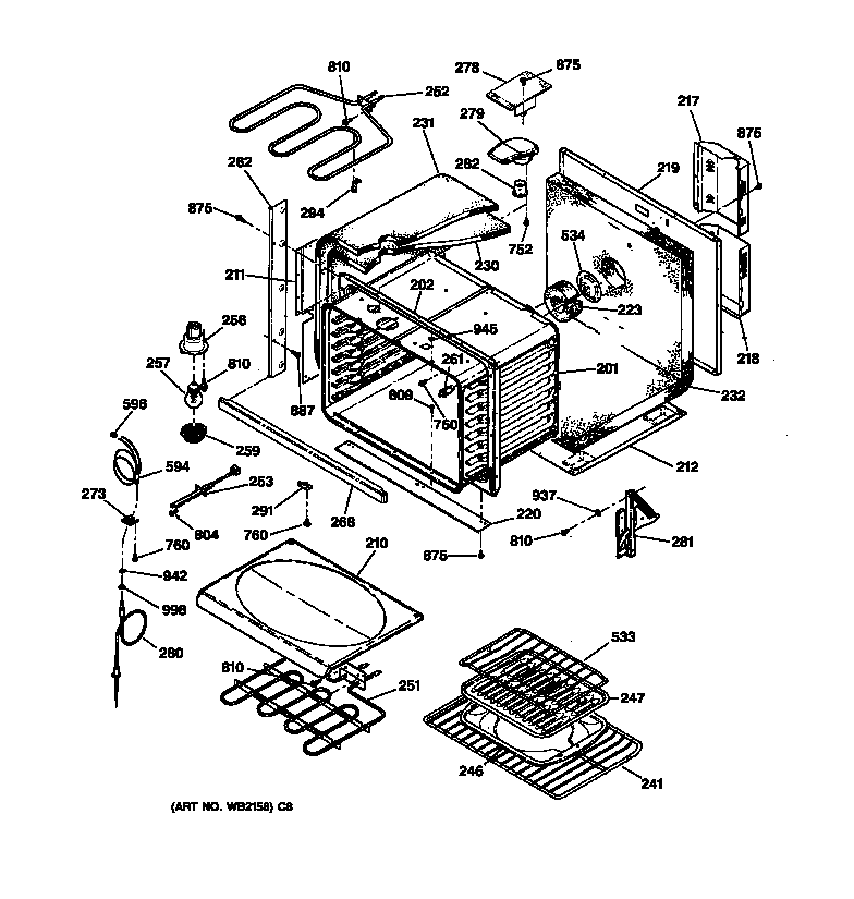 jtp18 electric oven body parts diagram