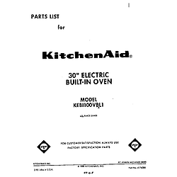 KEBI100VBL Electric Built-In Oven Front cover Parts diagram