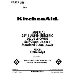 KEBI241WBL1 Electric Range Front cover Parts diagram