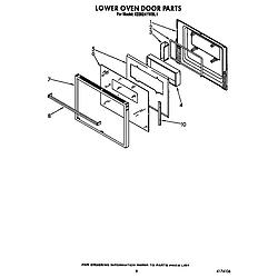 KEBI241WBL1 Electric Range Lower oven door Parts diagram