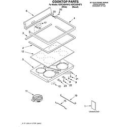 KERC500HWH3 Electric Range Cooktop/literature Parts diagram