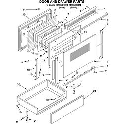 KERC500HWH3 Electric Range Door and drawer Parts diagram