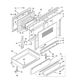 KERC507HWH3 Electric Range Door and drawer Parts diagram