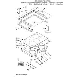 KESC307HBT4 Electric Slide-In Range Cooktop/literature Parts diagram