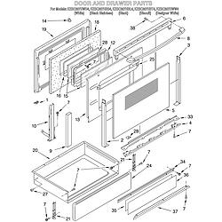 KESC307HBT4 Electric Slide-In Range Door and drawer Parts diagram