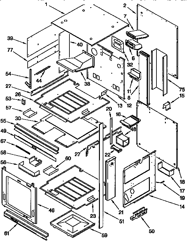 KGBS276XBLO Gas Range External Oven Parts Diagram