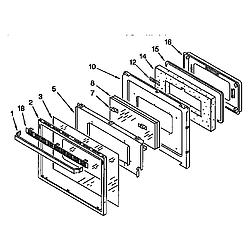 KGBS276XBLO Gas Range Oven door Parts diagram