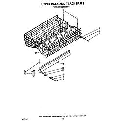 KUDM220T0 Dishwasher Upper rack and track Parts diagram