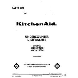 KUDM220T4 Dishwasher Front cover Parts diagram
