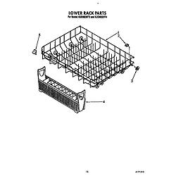 KUDM220T4 Dishwasher Lower rack Parts diagram