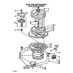KUDM220T4 Dishwasher Pump and motor Parts diagram