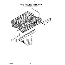 KUDM220T4 Dishwasher Upper rack and track Parts diagram