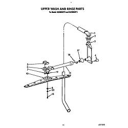 KUDM220T4 Dishwasher Upper wash and rinse Parts diagram