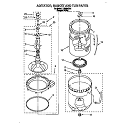 LLR9245BQ1 Direct-Drive Washer Agitator, basket and tub Parts diagram