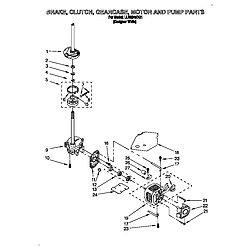 LLR9245BQ1 Direct-Drive Washer Brake, clutch, gearcase, motor and pump Parts diagram
