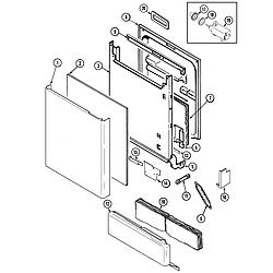 MDB6000AWA Dishwasher Door Parts diagram