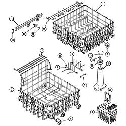 MDB6000AWA Dishwasher Track & rack assembly Parts diagram