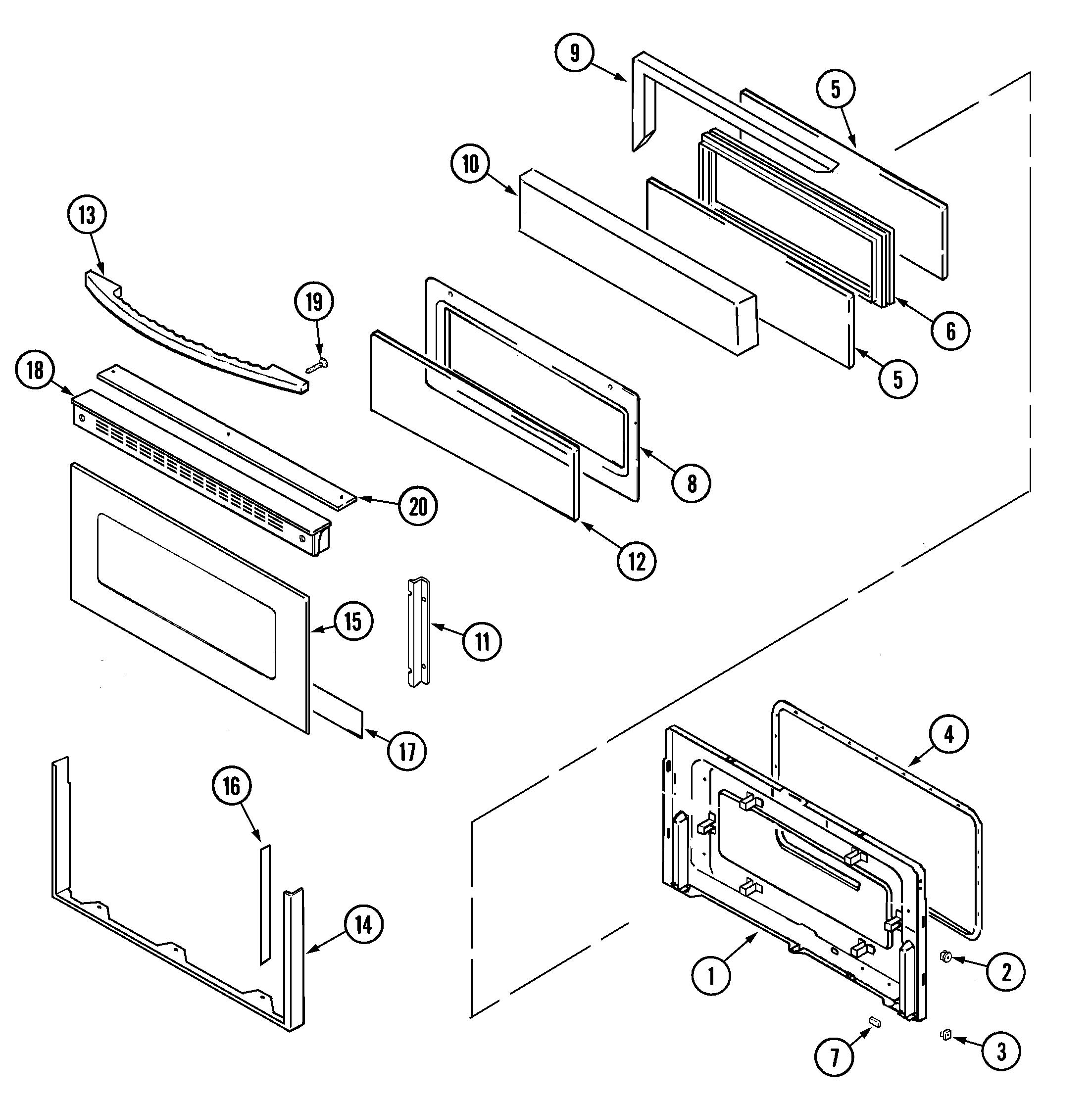 mer6770aaw free standing electric range door (upper) parts diagram