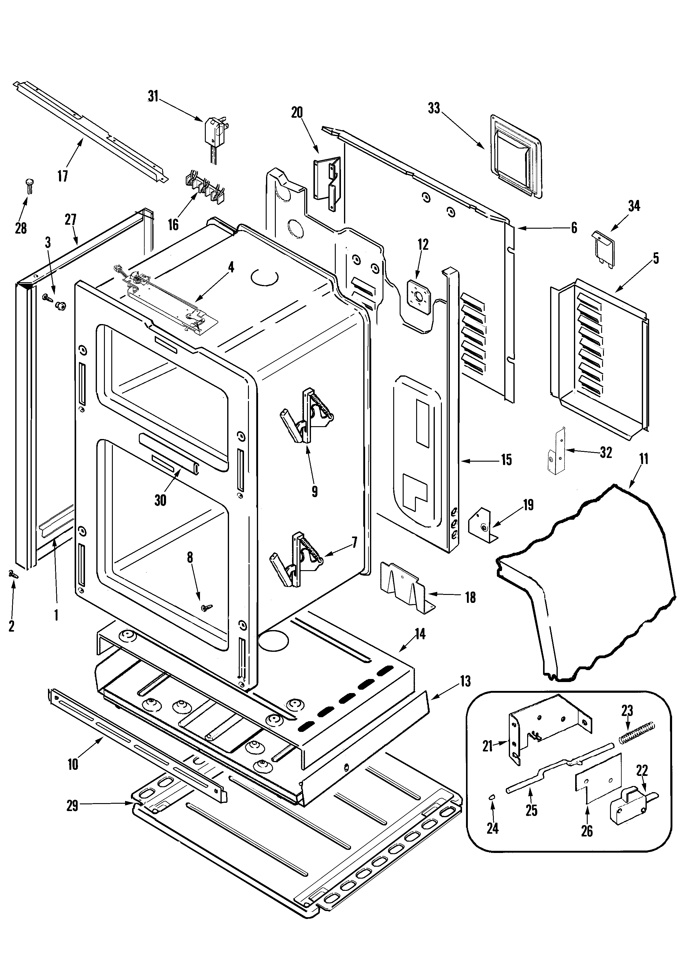 Body Parts on Ge Gas Dryer Parts Diagram