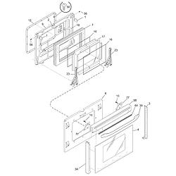 PGLEF385CS1 Electric Range Door Parts diagram