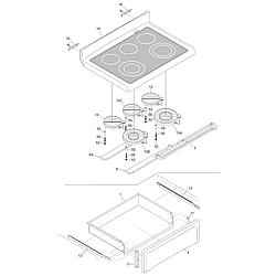 PGLEF385CS1 Electric Range Top/drawer Parts diagram