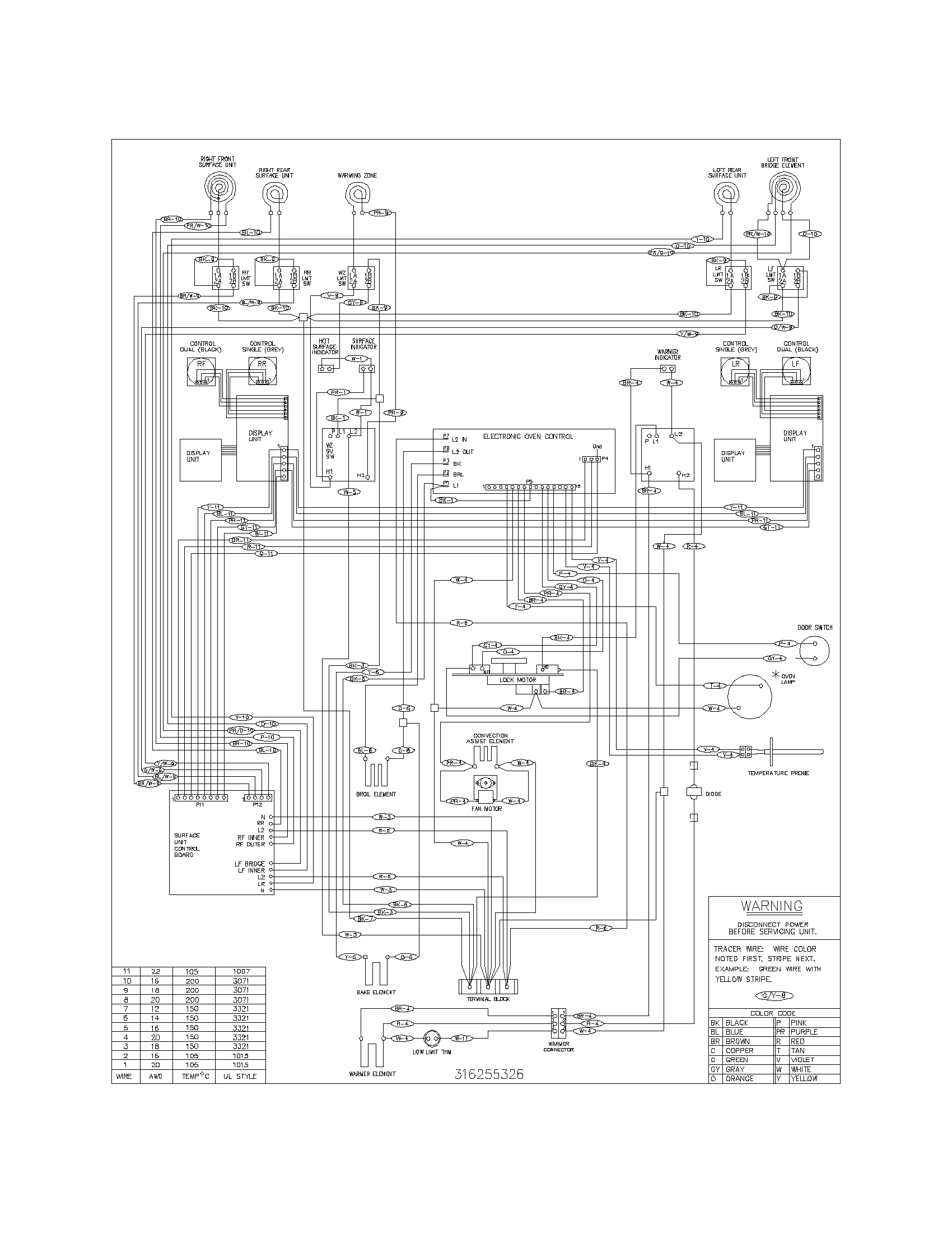 PLEF398CCD Electric Range Wiring diagram Parts diagram
