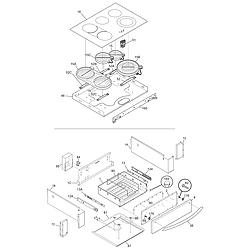 PLES389DCC Electric Range Top/drawer Parts diagram