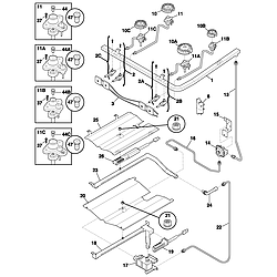 PLGF389CCB Gas Range Burner Parts diagram