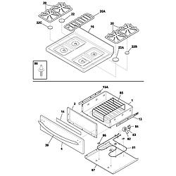 PLGF389CCB Gas Range Top/drawer Parts diagram