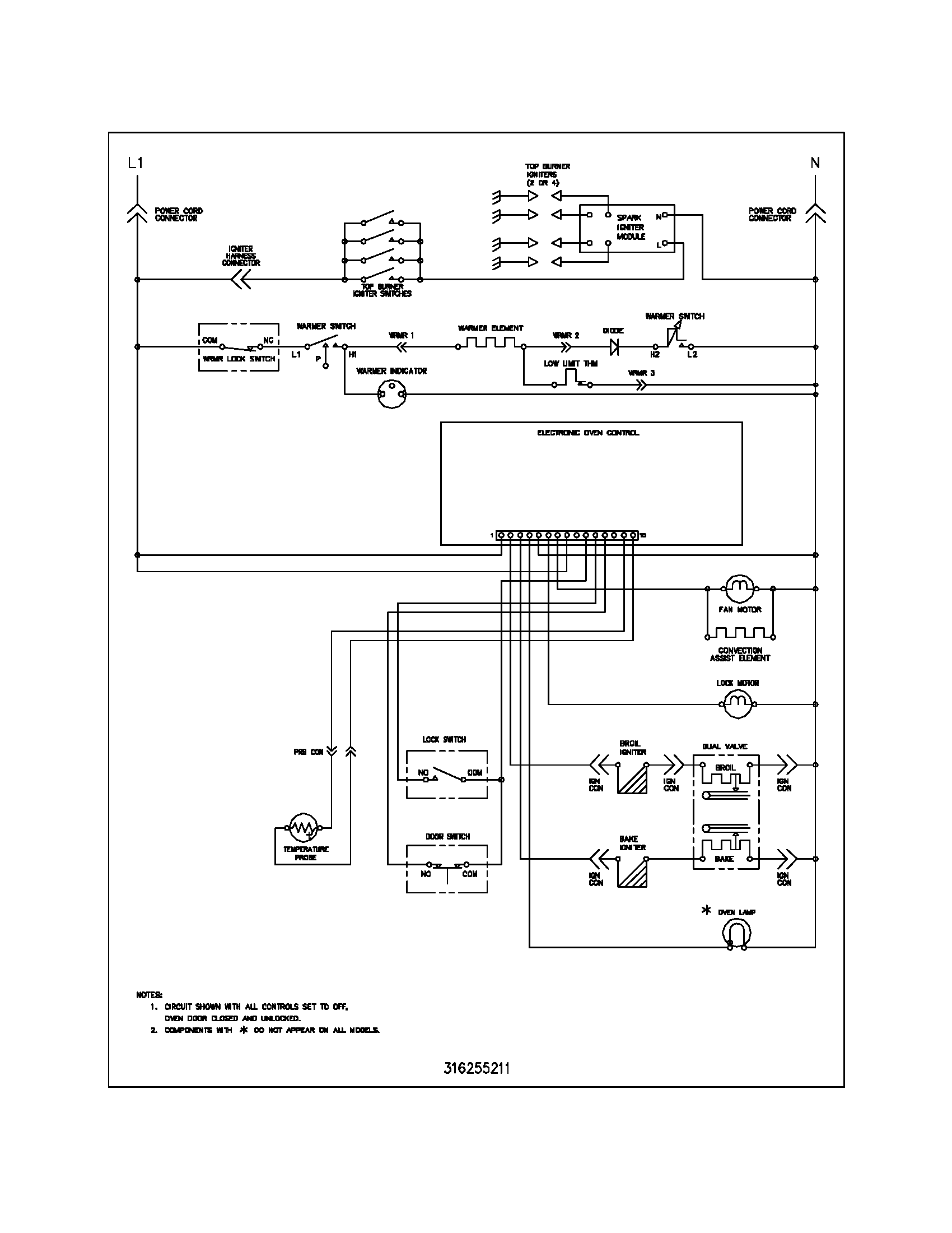 wiring schematic parts frigidaire plgf389ccc gas range timer stove clocks and appliance Rheem Thermostat Wiring at gsmportal.co