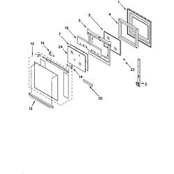 RBD275PDB14 Built In Oven - Electric Upper oven door Parts diagram