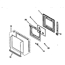 RBD305PDB6 Electric Oven Lower oven door Parts diagram
